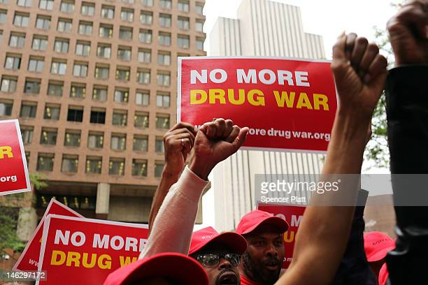 Marijuana legalization advocates and members of community groups attend a rally against marijuana arrests in front of One Police Plaza on June 13...