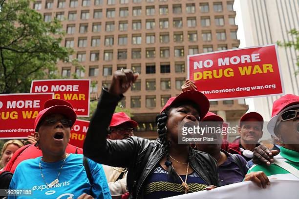 Marijuana legalization advocates and members of community groups attend a rally against marijuana arrests in front of One Police Plaza on June 13,...