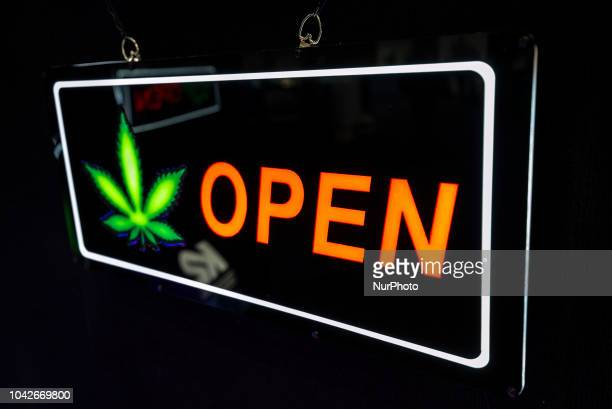 A marijuana themed neon sign on display at the Cannabis World Congress amp Business Expo in Los Angeles California on September 27 2018 The annual...