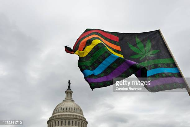 Marijuana-themed U.S. Flag flies as activists hold a rally at the U.S. Capitol to call on Congress pass cannabis reform legislation on Tuesday, Oct....