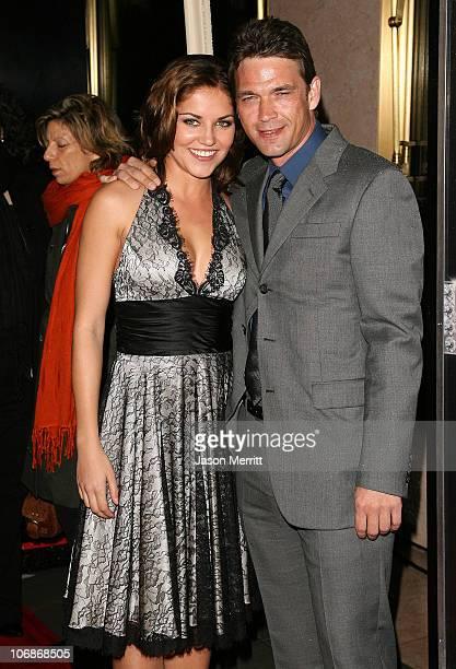 Marika Dominczyk and Dougray Scott during NBC's Heist Premiere Arrivals at Bulgari in Beverly Hills California United States