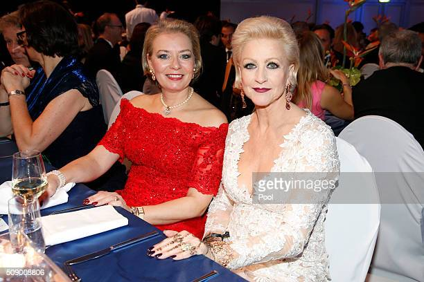 Marika Kilius and her daughter Melanie Schaefer pose during the German Sports Gala 'Ball des Sports 2016' on February 6 2016 in Wiesbaden Germany