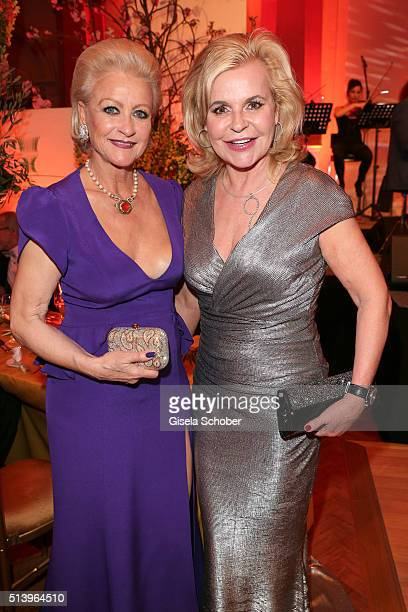 Marika Kilius and Tessy Pavelkova editor in chief of 'Neue Woche' during the Spring Ball Frankfurt 2016 on March 5 2016 in Frankfurt am Main Germany