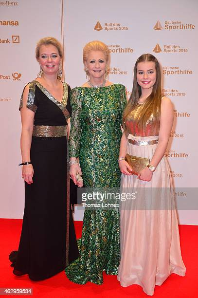 Marika Kilius daugther Melanie Schaefer and granddaughter Lola Schaefer attend the German Sports Gala 'Ball des Sports' on February 7 2015 in...