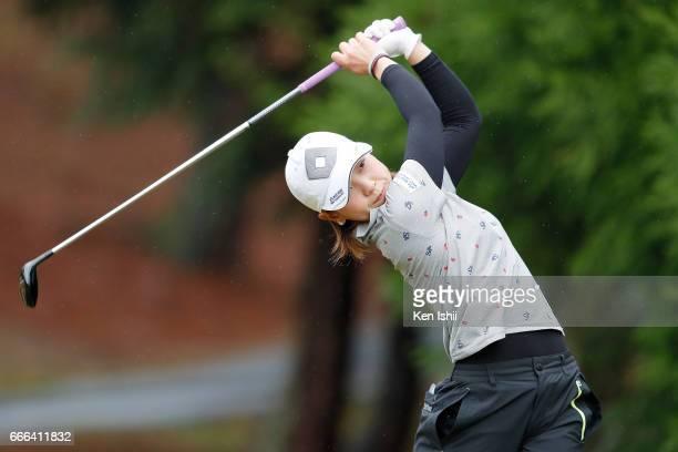 Marika Komiya plays her tee shot on the second hole during the final round of the Hanasaka Ladies Yanmar Golf Tournament at the Biwako Country Club...
