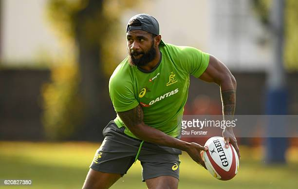 Marika Koroibete in action during his first Wallabies training session during Qantas Australia Wallabies training ahead of their International...