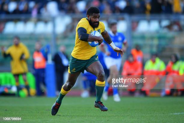 Marika Koroibete of Australia breaks clear to score their first try during the international friendly between Italy and Australia at Stadio Euganeo...