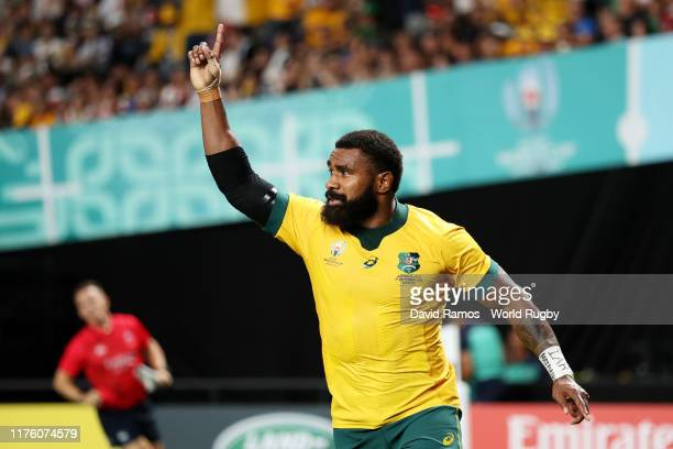 Marika Koroibete of Australia celebrates scoring his side's sixth try during the Rugby World Cup 2019 Group D game between Australia and Fiji at...