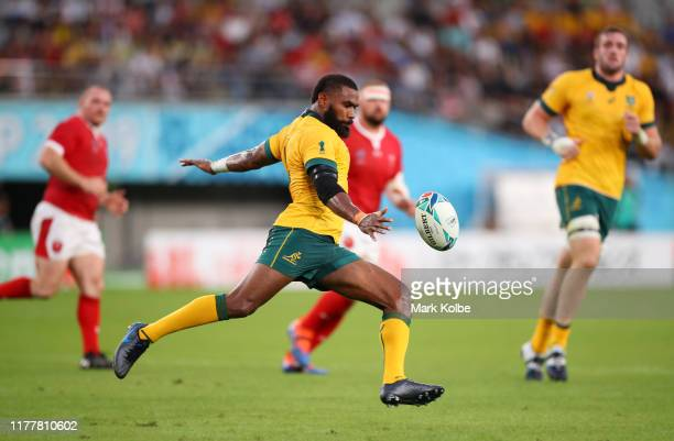 Marika Koroibete of Australia clears the ball during the Rugby World Cup 2019 Group D game between Australia and Wales at Tokyo Stadium on September...