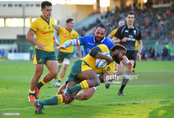 Marika Koroibete of Australia crosses to score their second try during the international friendly between Italy and Australia at Stadio Euganeo on...