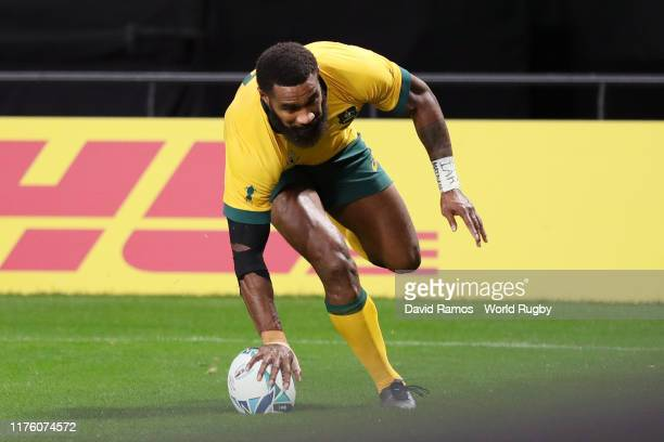 Marika Koroibete of Australia ground the ball to score his side's sixth try during the Rugby World Cup 2019 Group D game between Australia and Fiji...
