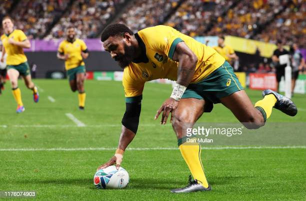 Marika Koroibete of Australia grounds the ball to score his side's sixth try during the Rugby World Cup 2019 Group D game between Australia and Fiji...