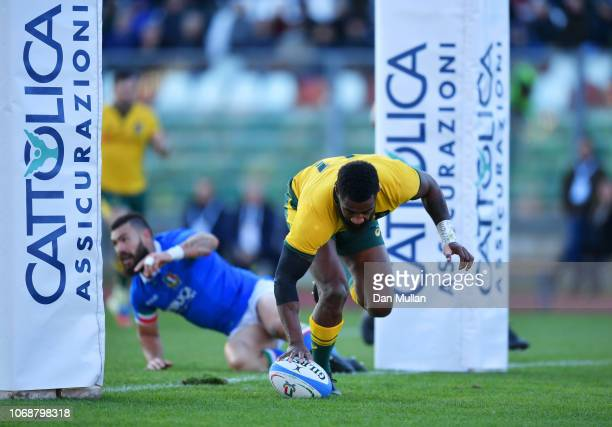 Marika Koroibete of Australia touches down for their first try during the international friendly between Italy and Australia at Stadio Euganeo on...
