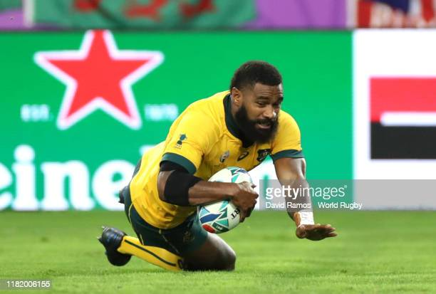 Marika Koroibete of Australia touches down to score his team's first try during the Rugby World Cup 2019 Quarter Final match between England and...
