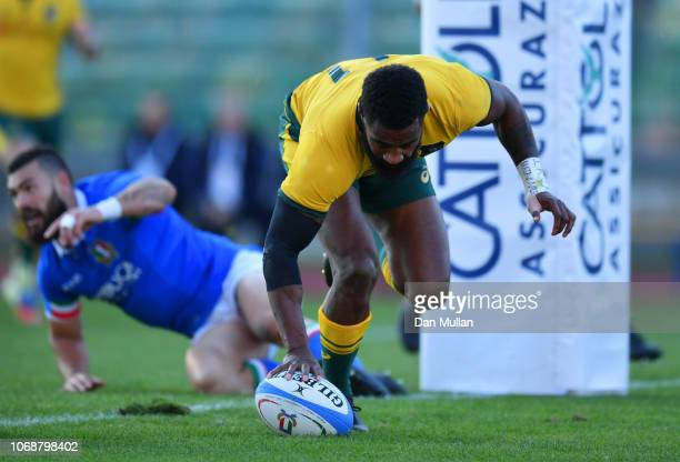 Marika Koroibete of Australia touches down to score their first try during the international friendly between Italy and Australia at Stadio Euganeo...
