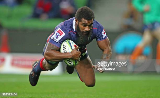 Marika Koroibete of the Rebels dives to score the first try during the round 15 Super Rugby match between the Rebels and the Sunwolves at AAMI Park...