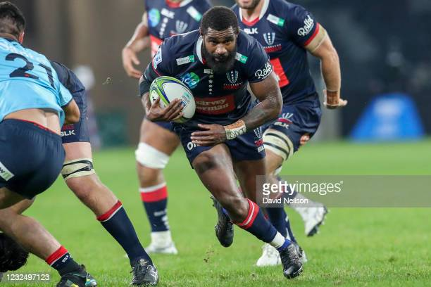 Marika Koroibete of the Rebels in possession during the round 10 Super RugbyAU match between the NSW Waratahs and the Melbourne Rebels at Bankwest...