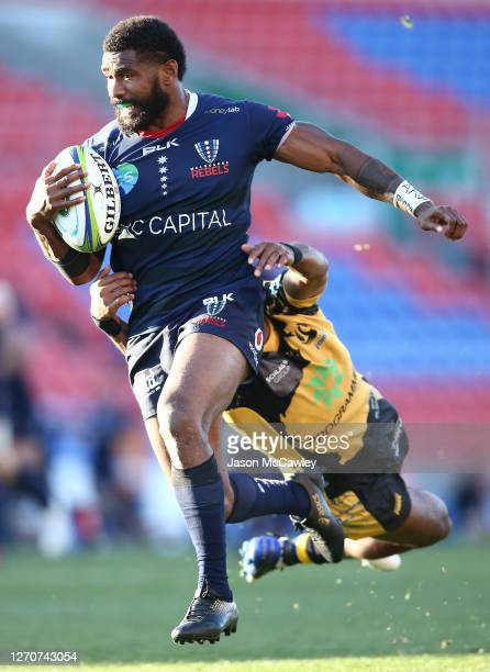 Marika Koroibete of the Rebels makes a break during the round 10 Super Rugby AU match between the Melbourne Rebels and the Western Force at McDonald...