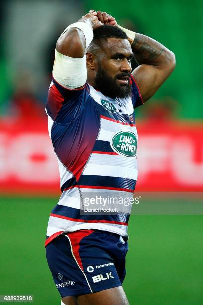 Marika Koroibete of the Rebels reacts after the Rebels lost the round 14 Super Rugby match between the Rebels and the Crusaders at AAMI Park on May...