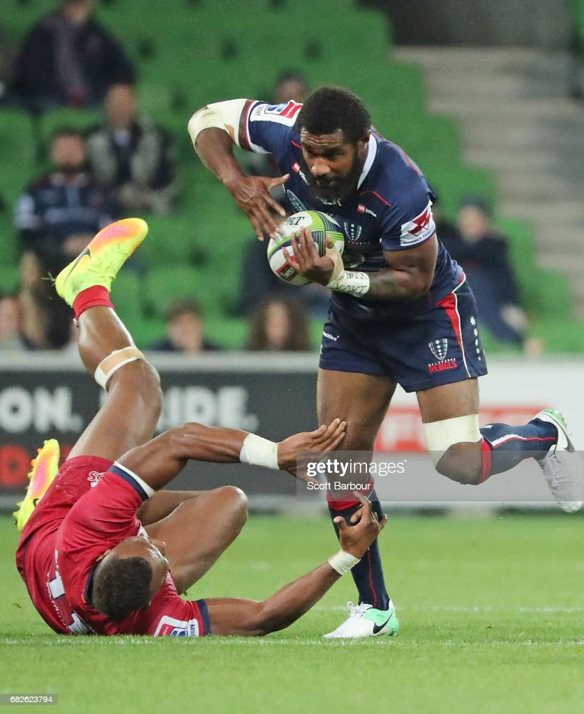 Marika Koroibete of the Rebels runs with the ball during the round 12 Super Rugby match between the Melbourne Rebels and the Queensland Reds at AAMI Park on May 13, 2017 in Melbourne, Australia.