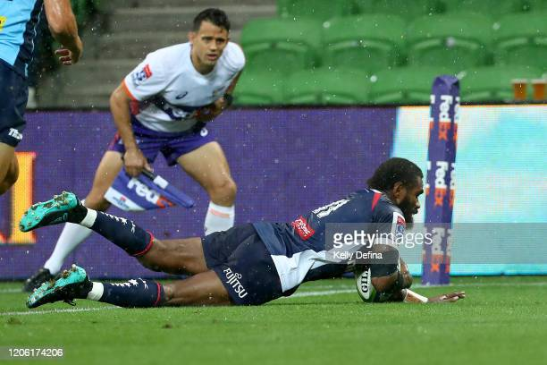 Marika Koroibete of the Rebels scores a try during the round 3 Super Rugby match between the Rebels and the Waratahs at AAMI Park on February 14,...