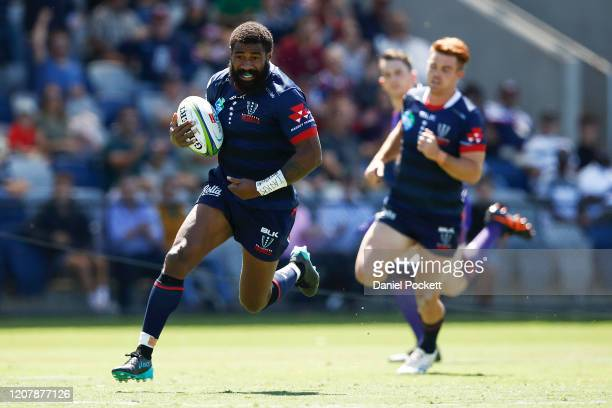 Marika Koroibete of the Rebels scores a try during the round four Super Rugby match between the Rebels and the Sharks at Mars Stadium on February 22,...