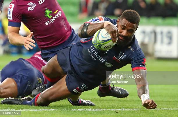 Marika Koroibete of the Rebels scores the first try during the round 13 Super Rugby match between the Rebels and the Reds at AMI Park on May 10 2019...