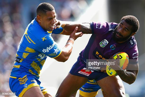Marika Koroibete of the Storm is tackled by Richard Kennar of the Eels during the 2016 Auckland Nines semifinal match between the Storm and the Eels...
