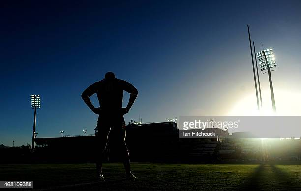 Marika Koroibete of the Storm looks on during the warm up before the start of the round four NRL match between the North Queensland Cowboys and the...