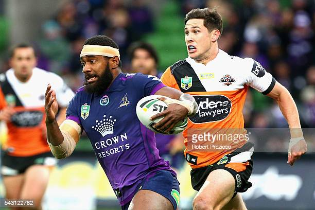 Marika Koroibete of the Storm runs during the round 16 NRL match between the Melbourne Storm and Wests Tigers at AAMI Park on June 26 2016 in...
