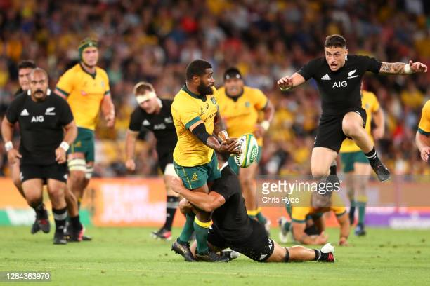 Marika Koroibete of the Wallabies charges forward during the 2020 Tri-Nations match between the Australian Wallabies and the New Zealand All Blacks...