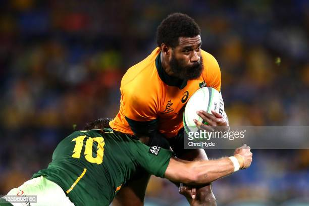 Marika Koroibete of the Wallabies charges forward during the Rugby Championship match between the South Africa Springboks and the Australian...