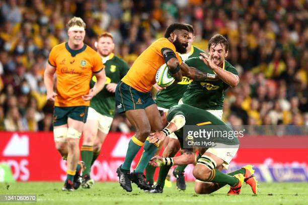 Marika Koroibete of the Wallabies charges forward during The Rugby Championship match between the Australian Wallabies and the South Africa...