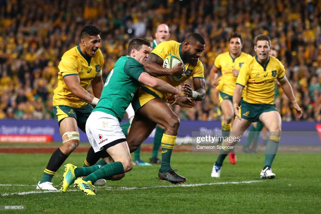Marika Koroibete of the Wallabies heads for the tryline during the Third International Test match between the Australian Wallabies and Ireland at Allianz Stadium on June 23, 2018 in Sydney, Australia.