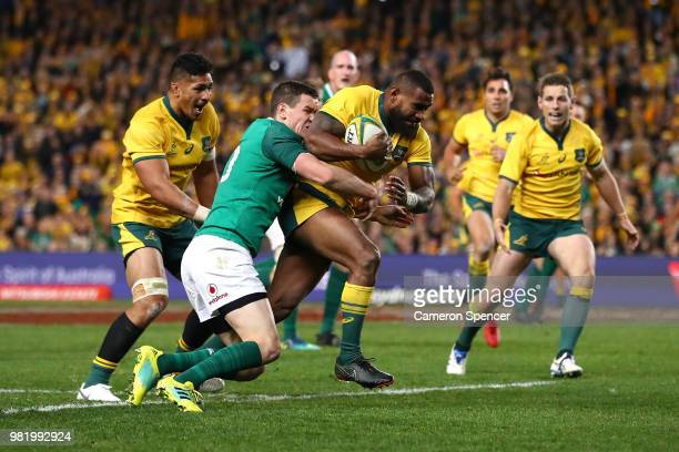 Marika Koroibete of the Wallabies heads for the tryline during the Third International Test match between the Australian Wallabies and Ireland at...