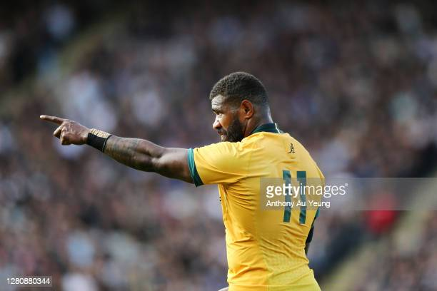 Marika Koroibete of the Wallabies looks on during the Bledisloe Cup match between the New Zealand All Blacks and the Australian Wallabies at Eden...