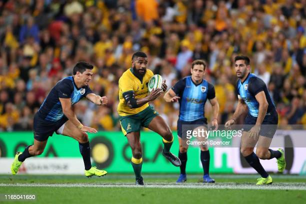 Marika Koroibete of the Wallabies makes a break during the 2019 Rugby Championship Test Match between Australia and Argentina at Suncorp Stadium on...