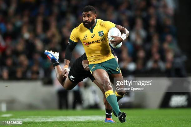 Marika Koroibete of the Wallabies makes a break during The Rugby Championship and Bledisloe Cup Test match between the New Zealand All Blacks and the...