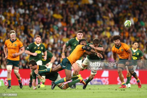 Marika Koroibete of the Wallabies offloads the ball during The Rugby Championship match between the Australian Wallabies and the South Africa...