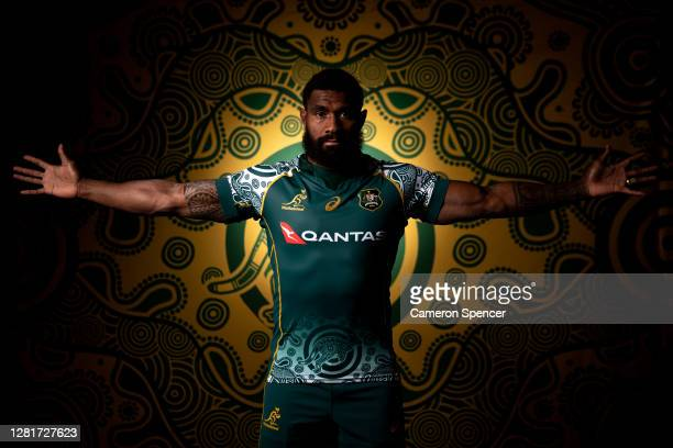 Marika Koroibete of the Wallabies poses during the Australian Wallabies 2020 First Nations Jersey portrait session on October 22, 2020 in the Hunter...