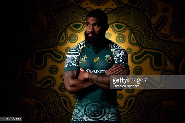 Marika Koroibete of the Wallabies poses during the Australian Wallabies 2020 First Nations Jersey portrait session on October 22 2020 in the Hunter...