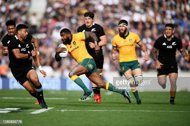 Marika Koroibete of the Wallabies runs the ball during the Bledisloe Cup match between the New Zealand All Blacks and the Australian Wallabies at...