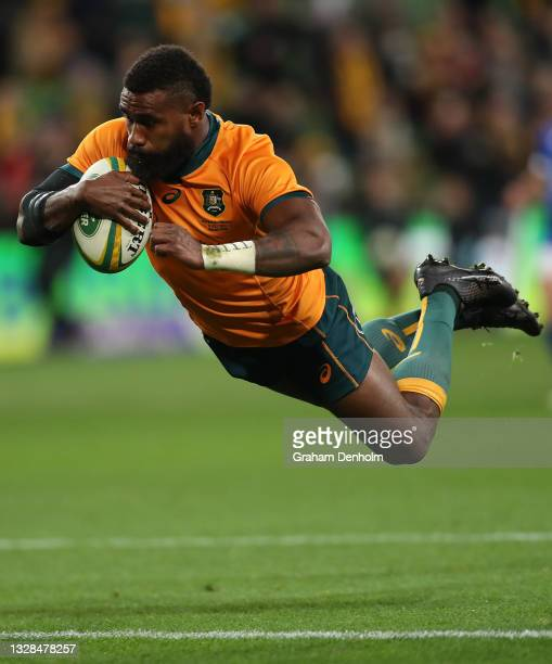 Marika Koroibete of the Wallabies scores a try which was later disallowed during the International Test match between the Australian Wallabies and...