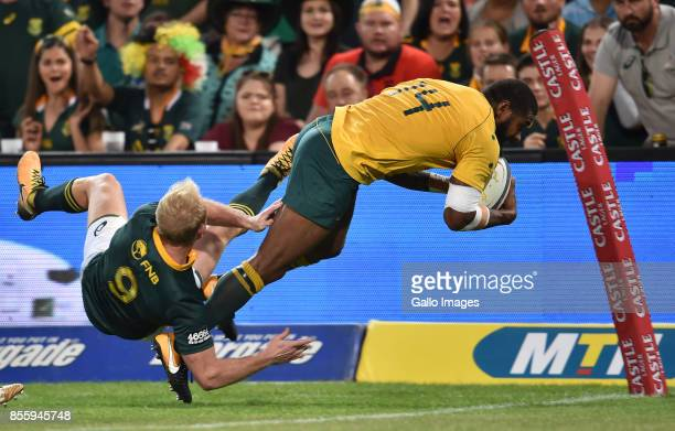 Marika Koroibete of the Wallabies scoring his try during the Rugby Championship 2017 match between South Africa and Australia at Toyota Stadium on...