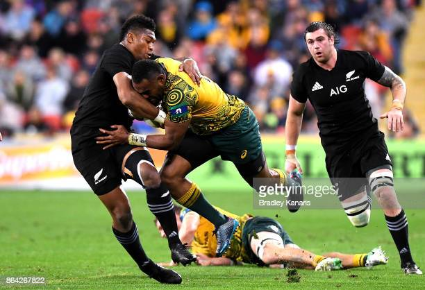 Marika Koroibete of the Wallabies takes on the defence during the Bledisloe Cup match between the Australian Wallabies and the New Zealand All Blacks...