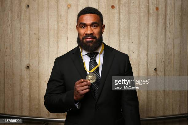 Marika Koroibete poses with the John Eales Medal during the 2019 Rugby Australia Awards at the Seymour Centre on November 14, 2019 in Sydney,...