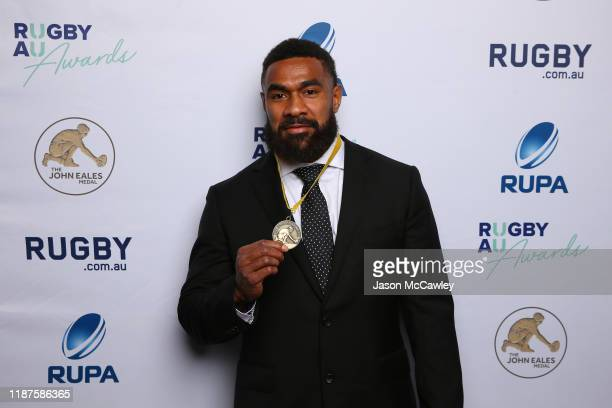 Marika Koroibete poses with the John Eales Medal during the 2019 Rugby Australia Awards at the Seymour Centre on November 14 2019 in Sydney Australia