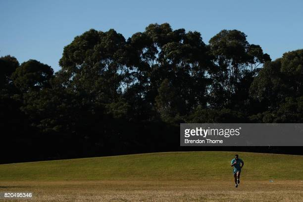 Marika Koroibete runs during a Wallabies hills training session on July 22 2017 in Sydney Australia