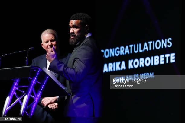 Marika Koroibete speaks during the 2019 Rugby Australia Awards at the Seymour Centre on November 14, 2019 in Sydney, Australia.