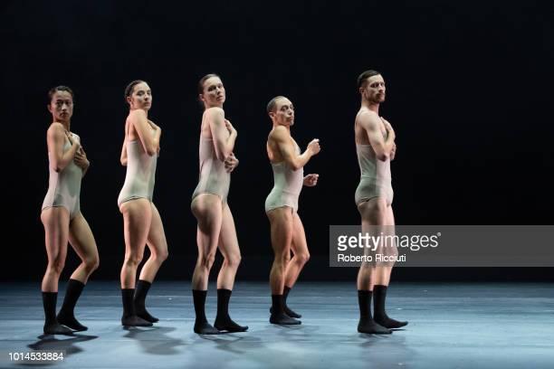 Mariko Kakizaki Keren Lurie Pardes Rebecca Hytting Gon Biran and Darren Devaney of LEV Dance Company perform 'Love Cycle Love Chapter 2' on stage...